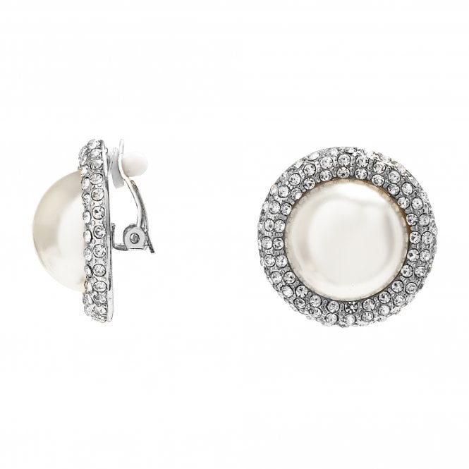 Image of Silver Plated Crystal And Pearl Bouton Clip Earring