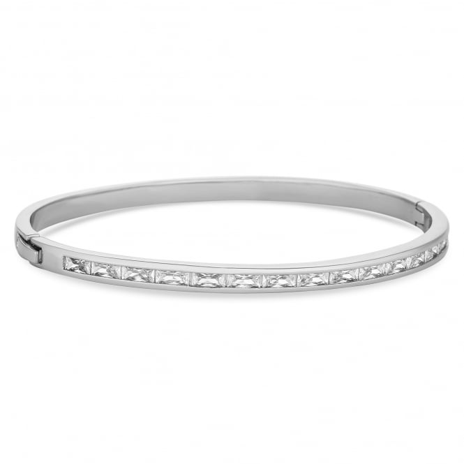 Silver Plated Crystal Baguette Bangle