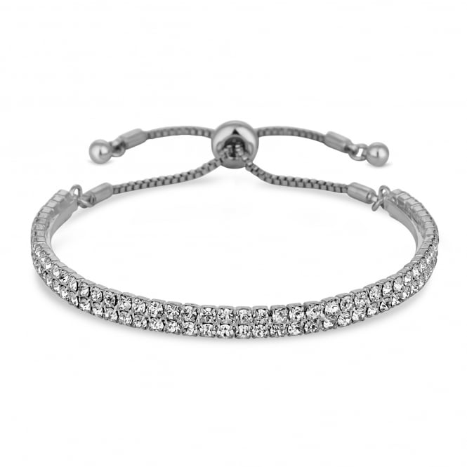 Silver Plated Crystal Bar Toggle Bracelet