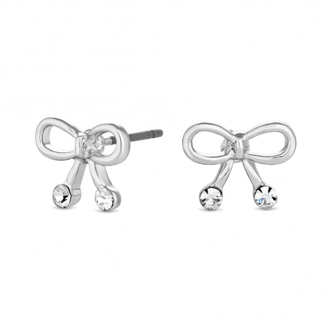Silver Plated Crystal Bow Stud Earring
