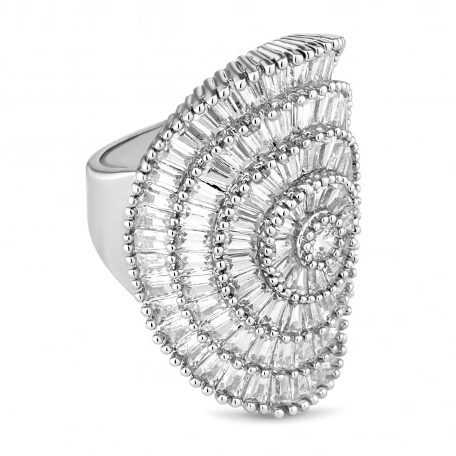 Silver Plated Crystal Burst Ring