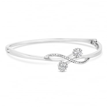Silver Plated Crystal Celestial Bangle