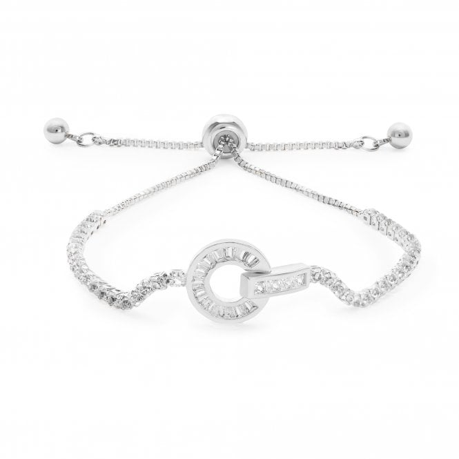 Image of Silver Plated Crystal Circle Link Toggle Bracelet