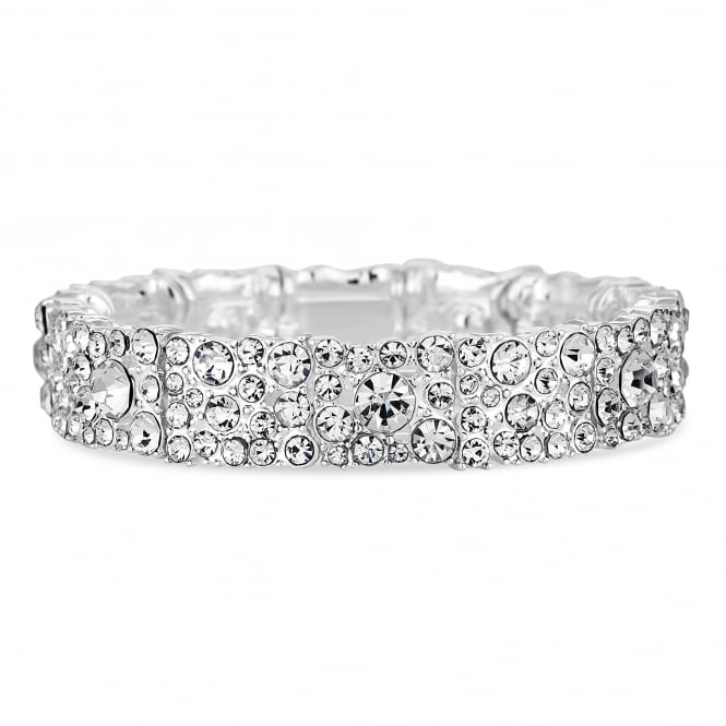 Jon Richard Silver Plated Crystal Cluster Stretch Bracelet