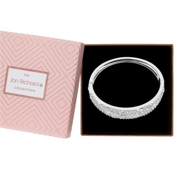 Silver Plated Crystal Embellished Cuff In A Gift Box