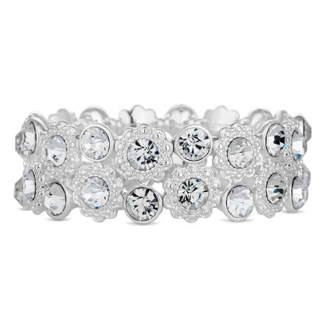 Silver Plated Crystal Floral Stretch Bracelet