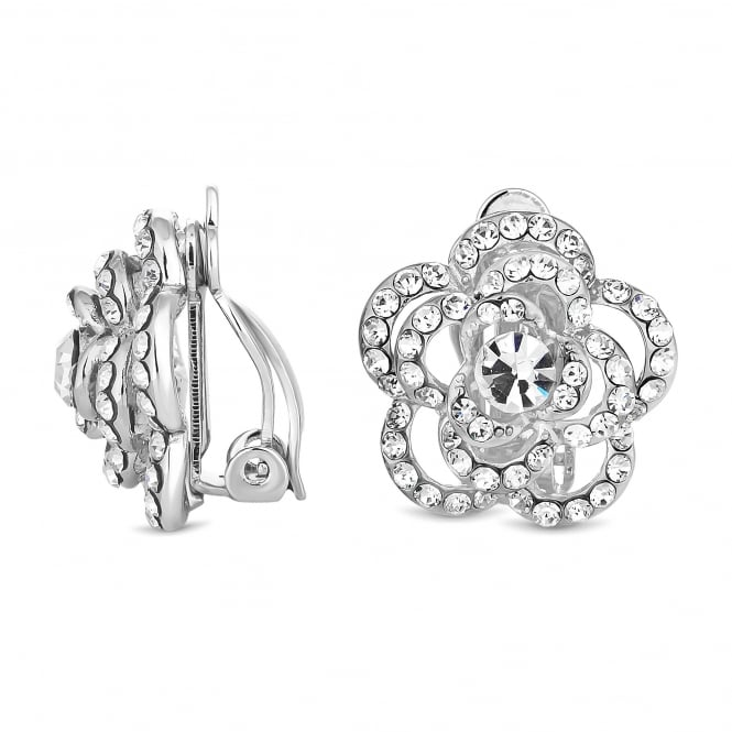 Silver Plated Crystal Flower Clip On Stud Earring