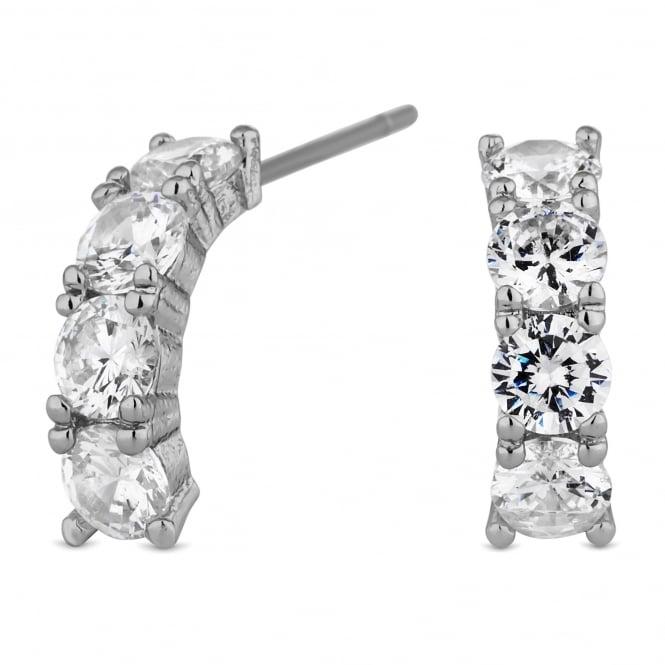 Silver Plated Crystal Half Hoop Earring