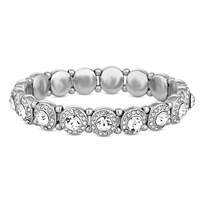 Silver Plated Crystal Halo Stretch Bracelet