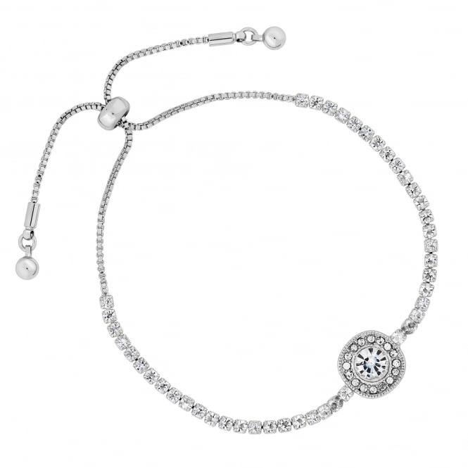 Silver Plated Crystal Halo Toggle Bracelet