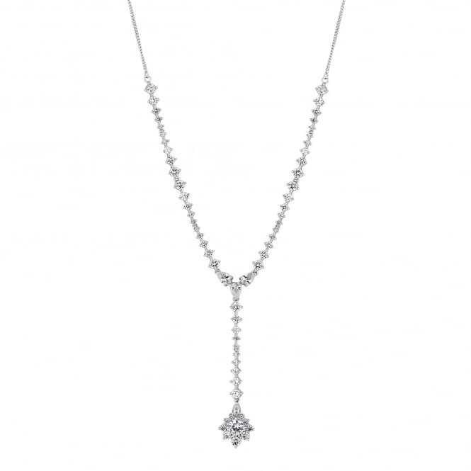 Silver Plated Crystal Halo Y Drop Necklace