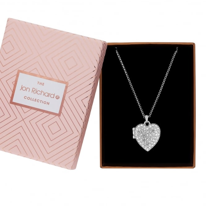 Jon Richard Silver Plated Crystal Heart Locket Necklace In A Gift Box