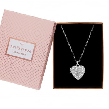 Silver Plated Crystal Heart Locket Necklace In A Gift Box
