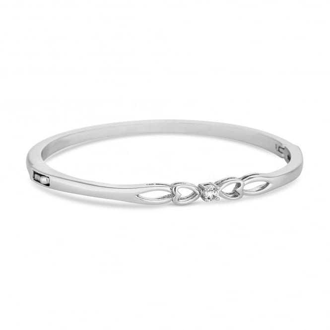 Silver Plated Crystal Heart Surround Bangle