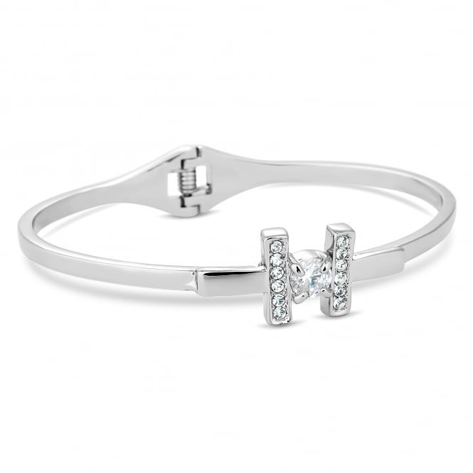 Silver Plated Crystal Hinged Cuff Bangle