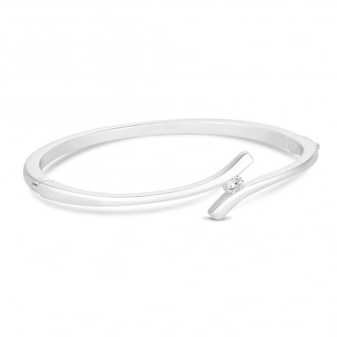 Silver Plated Crystal Infinity Bangle