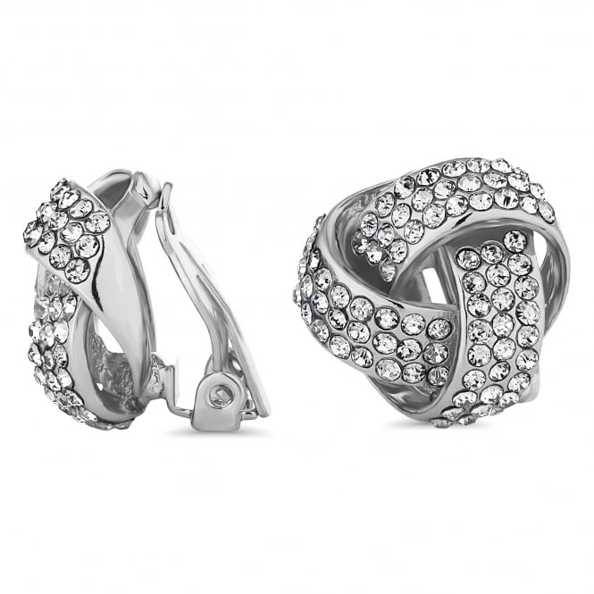 Silver Plated Crystal Knot Clip On Stud Earring