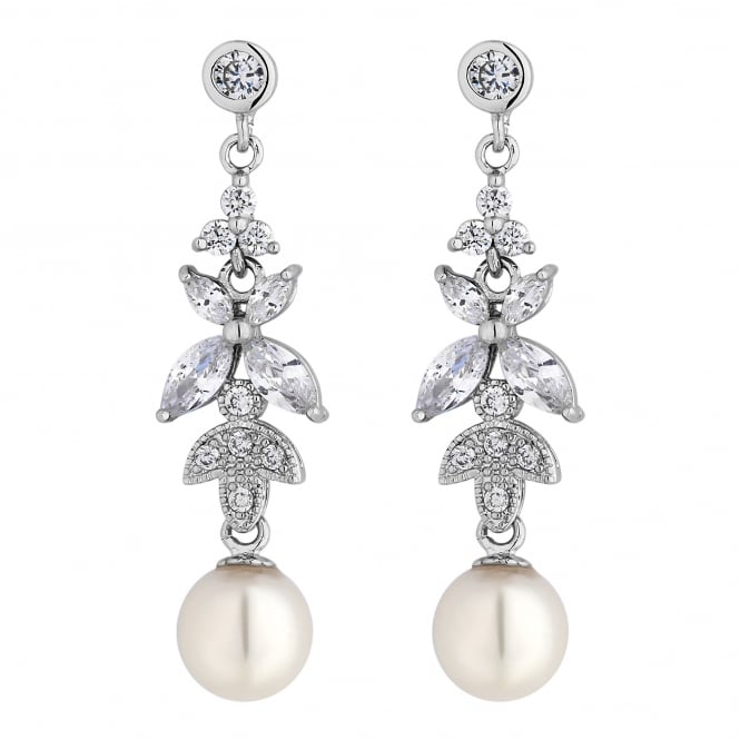 Jon Richard Silver Plated Crystal Leaf And Pearl Drop Earring