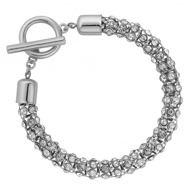 Silver Plated Crystal Mesh T Bar Bracelet