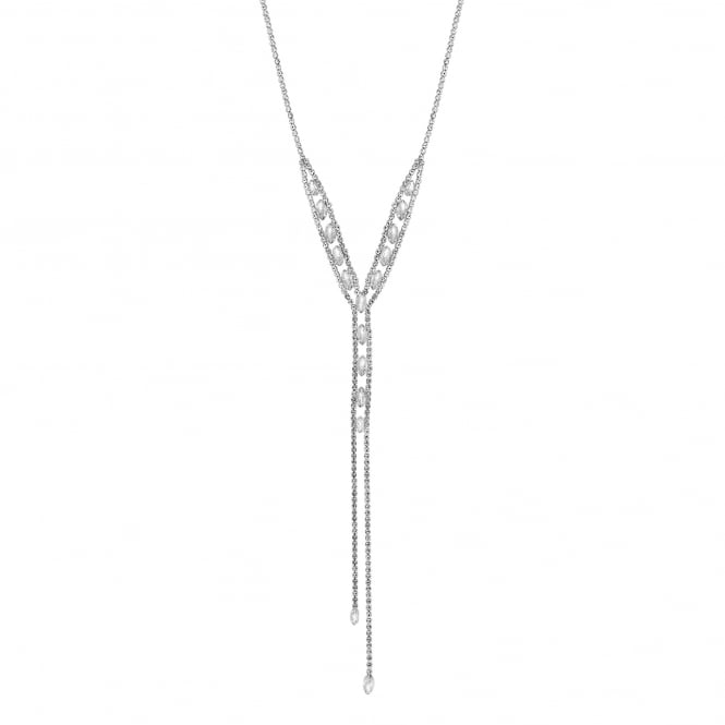 Silver Plated Crystal Navette Lariat Necklace