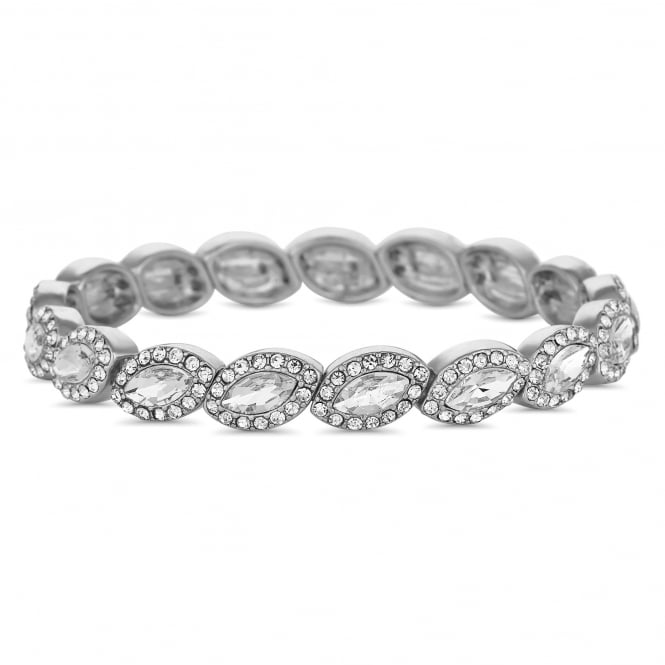 Silver Plated Crystal Navette Stretch Bracelet