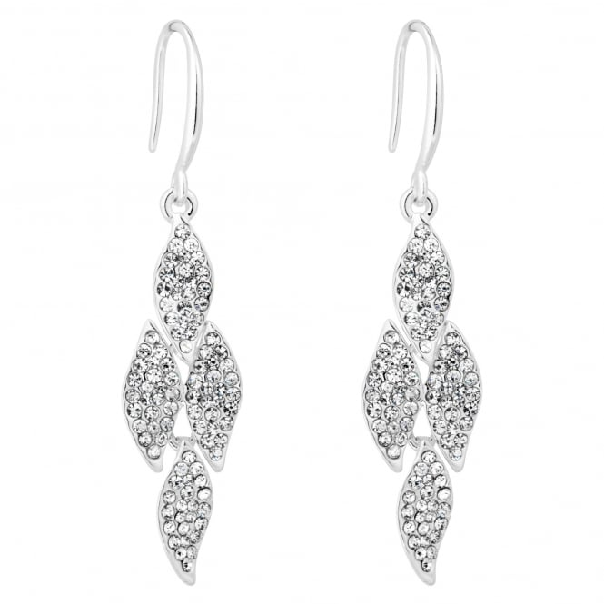 Silver Plated Crystal Pave Chandelier Link Earring