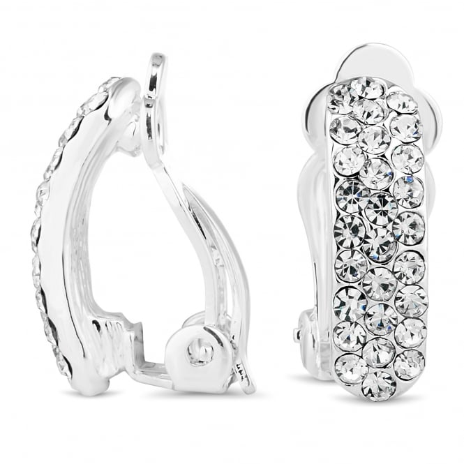 Silver Plated Crystal Pave Clip On Earring