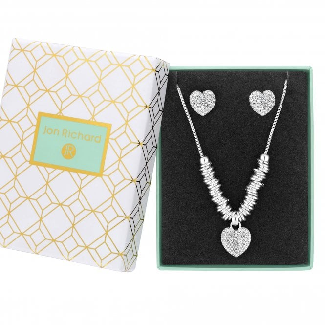 Image of Silver Plated Crystal Pave Heart Set - Gift Boxed