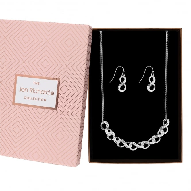 Jon Richard Silver Plated Crystal Pave Infinity Link Jewellery Set In A Gift Box