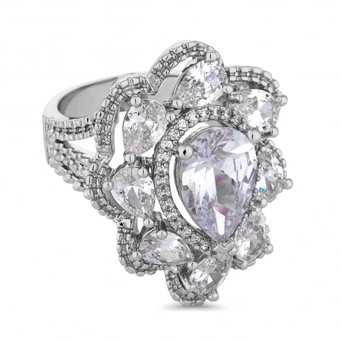 Silver Plated Crystal Peardrop Cluster Ring