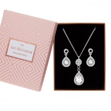 Silver Plated Crystal Peardrop Jewellery Set In A Gift Box