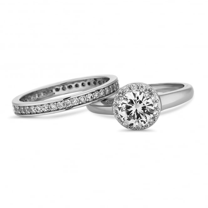 Silver Plated Crystal Stacking Ring Set