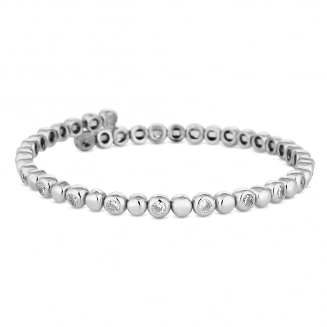 Silver Plated Crystal Tennis Coil Stretch Bracelet