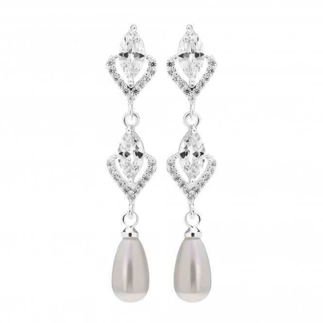 Image of Silver Plated Cubic Zirconia And Pearl Long Drop Earrings