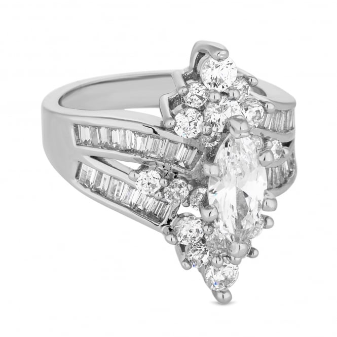 Silver Plated Cubic Zirconia Baguette Cluster Ring