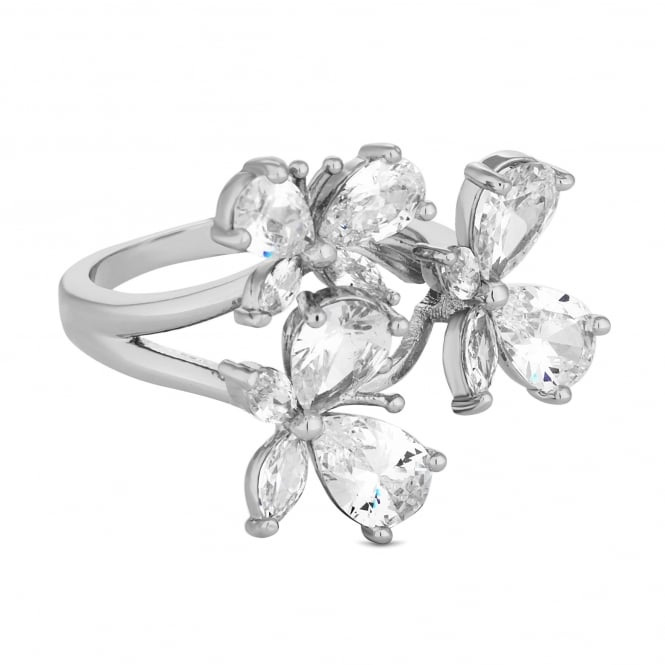 Silver Plated Cubic Zirconia Butterfly Cluster Ring