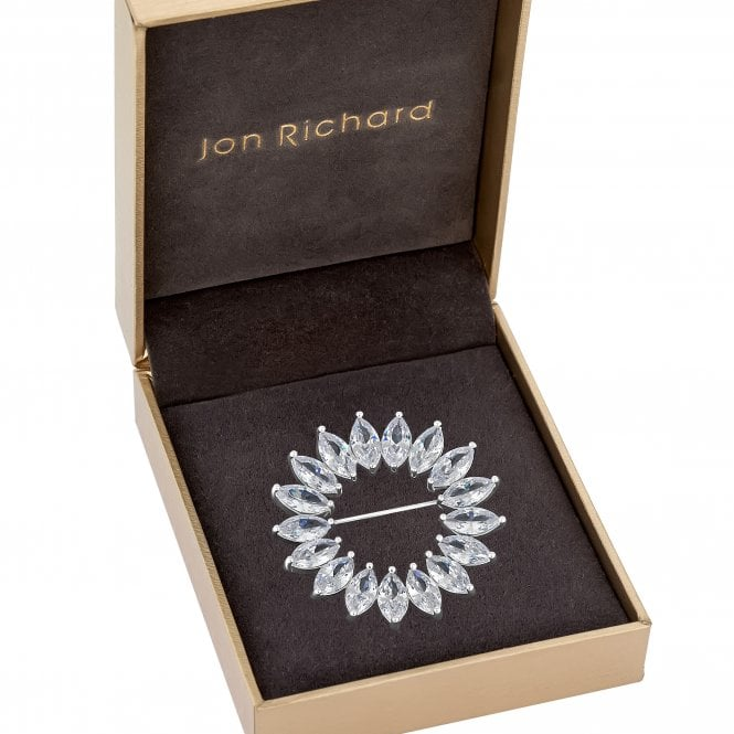 Image of Silver Plated Cubic Zirconia Circle Brooch - Gift Boxed