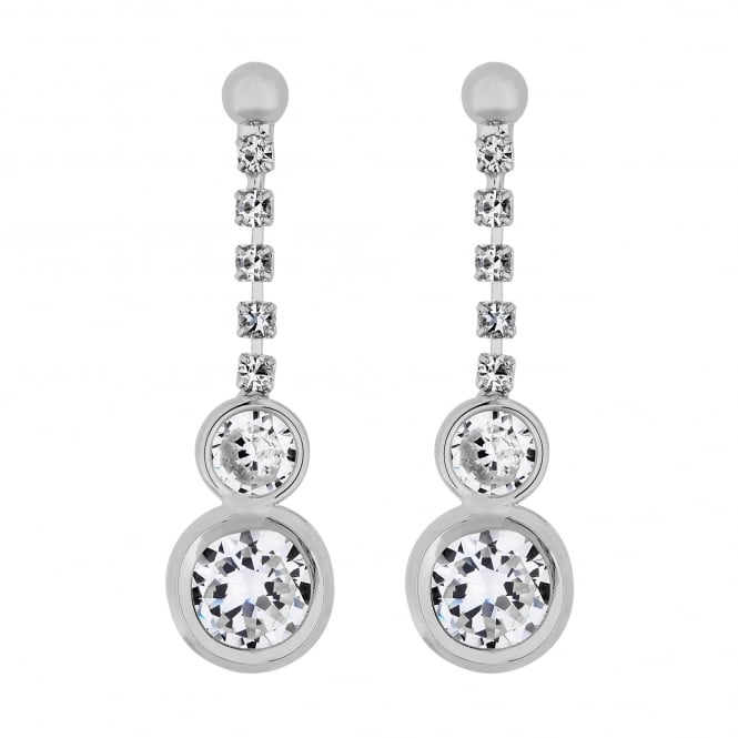 Silver Plated Cubic Zirconia Circle Drop Earring