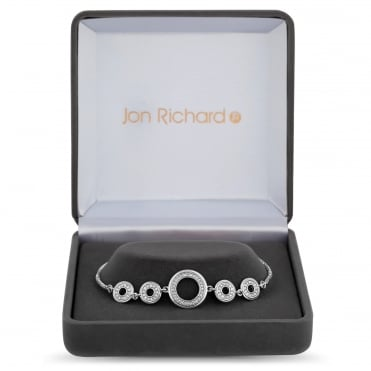 Silver Plated Cubic Zirconia Circle Link Toggle Bracelet In A Gift Box