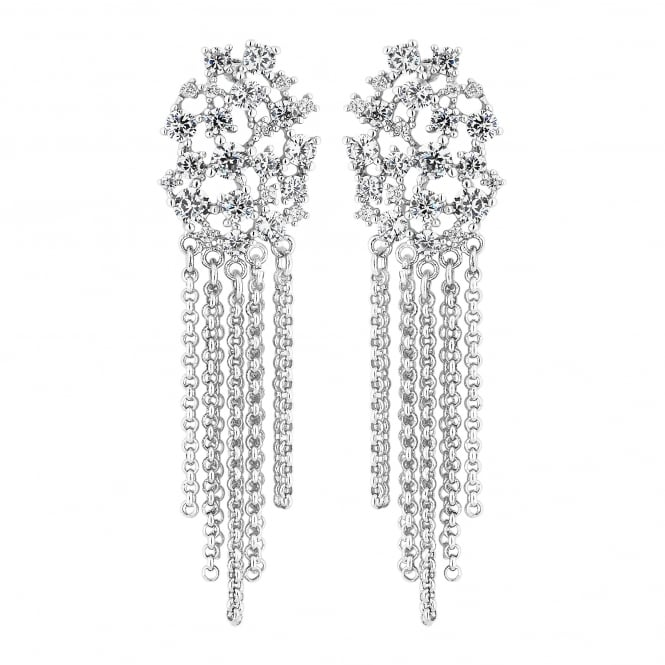 Silver Plated Cubic Zirconia Cluster Chain Drop Earring