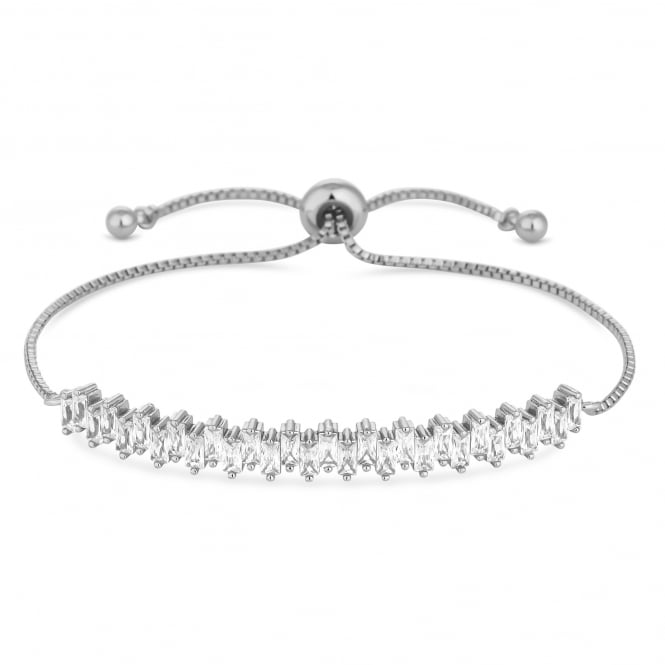 Jon Richard Silver Plated Cubic Zirconia Cluster Toggle Bracelet