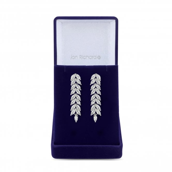 Image of Silver Plated Cubic Zirconia Crystal Navette Leaf Drop Earring - Gift Boxed