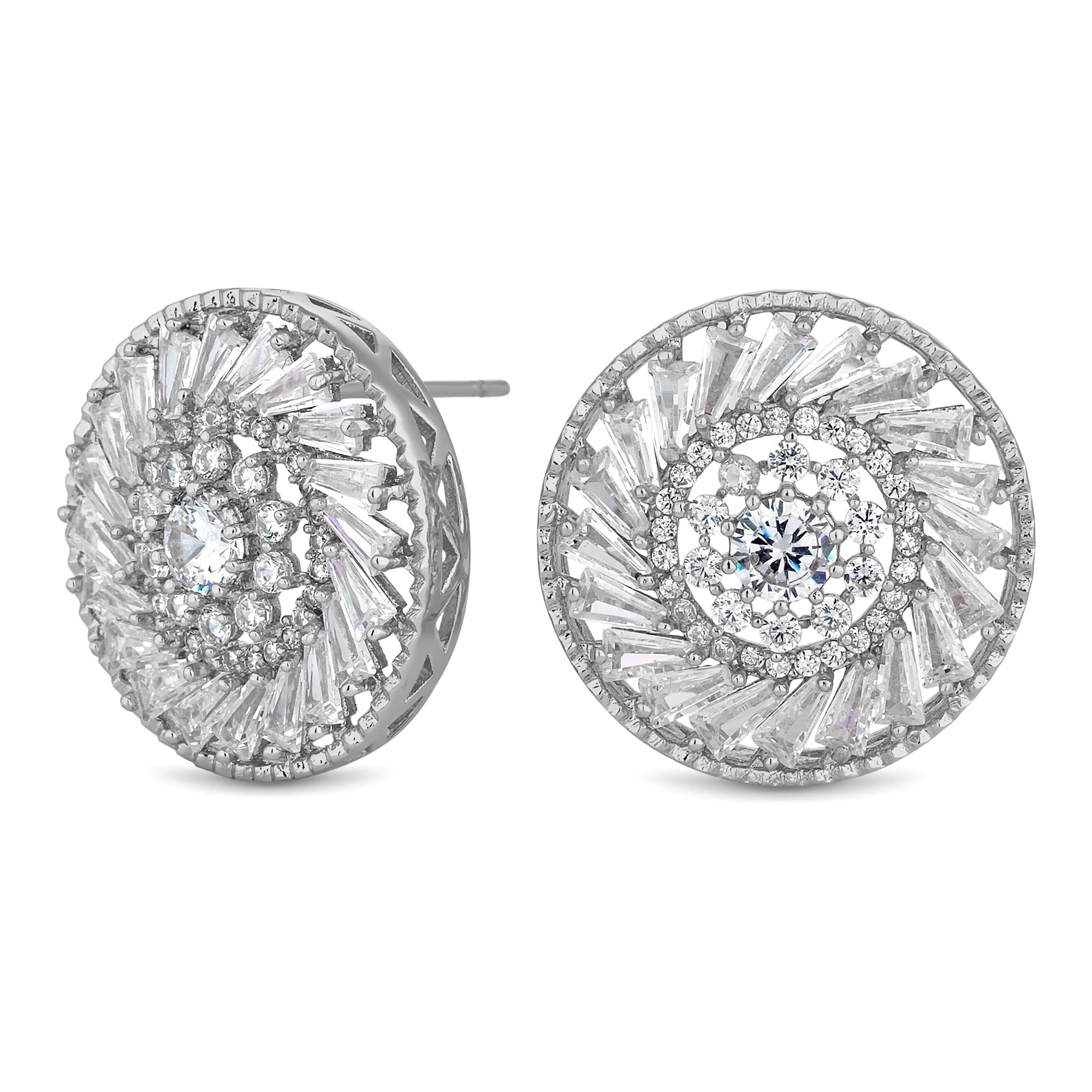 Silver Plated Cubic Zirconia Disc Stud Earring