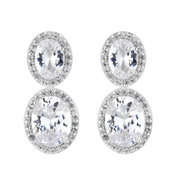 Jon Richard Silver Plated Cubic Zirconia Double Oval Halo Earring