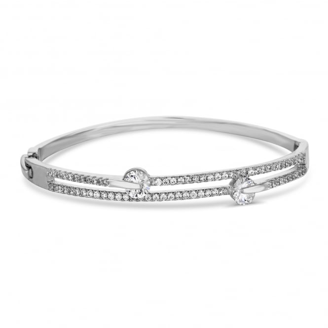 Silver Plated Cubic Zirconia Double Row Bracelet