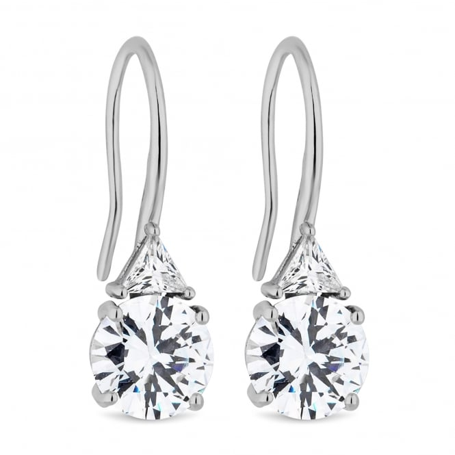 Silver Plated Cubic Zirconia Drop Hook Earring