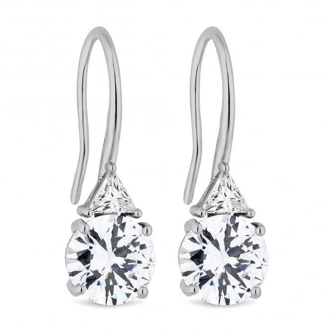 Silver Plated Cubic Zirconia Drop Hook Earring