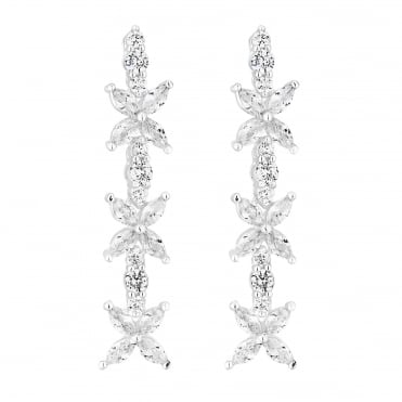 Silver Plated Cubic Zirconia Floral Drop Earring