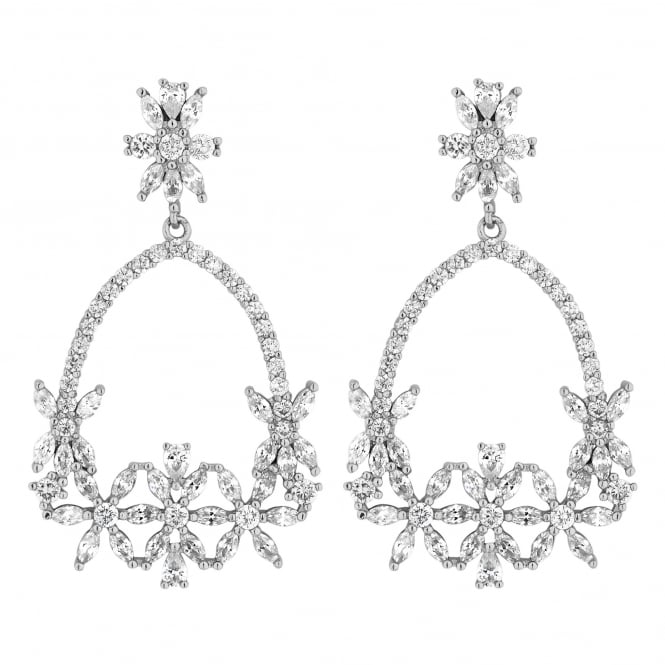 Silver Plated Cubic Zirconia Floral Open Hoop Earring
