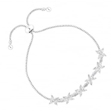Silver Plated Cubic Zirconia Floral Toggle Bracelet